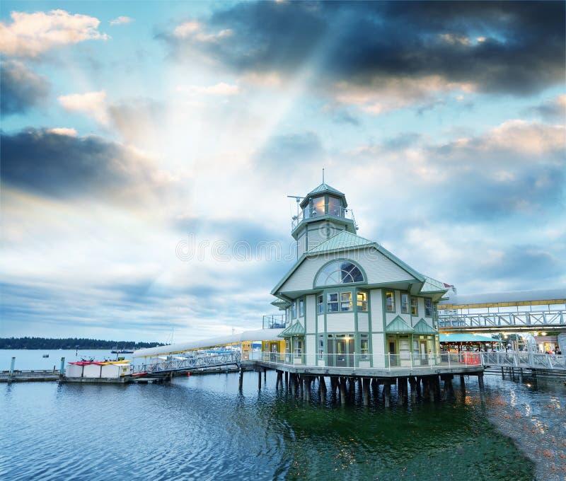 Port Nanaimo na chmurnym lato wieczór, Vancouver wyspa fotografia stock