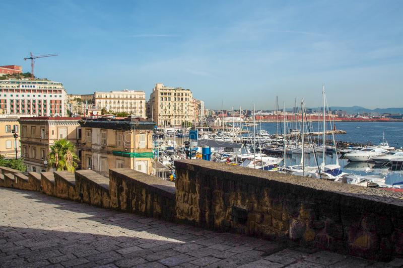 The port of Naples from Castel dell`Ovo royalty free stock image