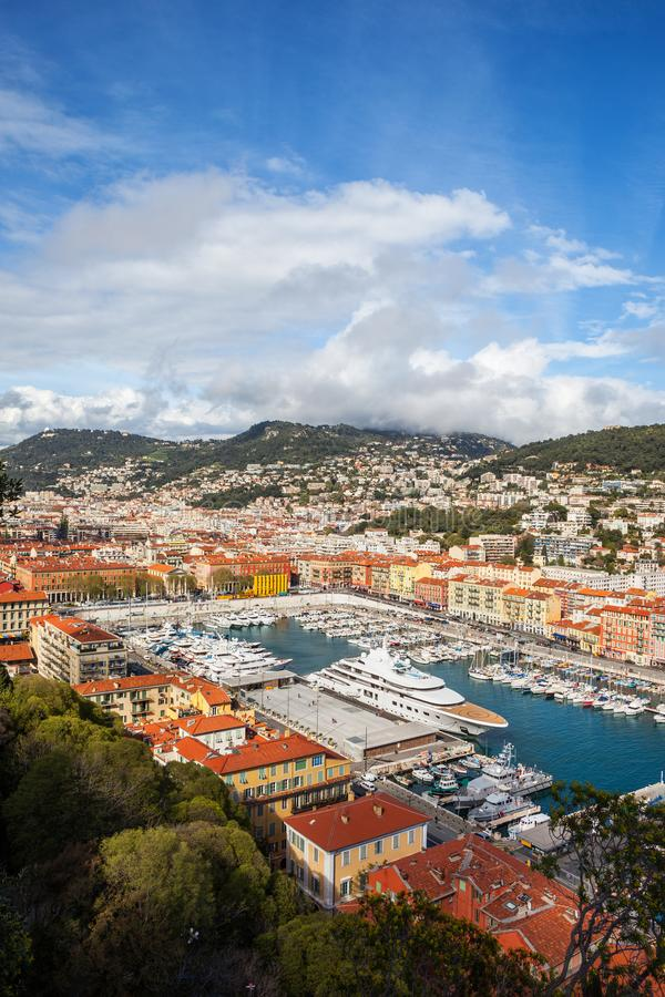 Port of Nice From Above in France. City of Nice in France, view over the Port of Nice on French Riviera stock image