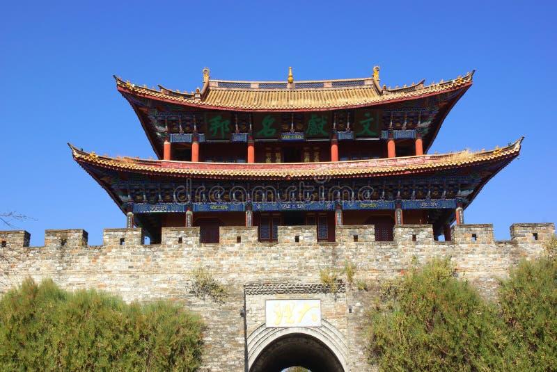 Port och vägg av Dali den gamla staden, Yunnan landskap, Kina arkivfoto