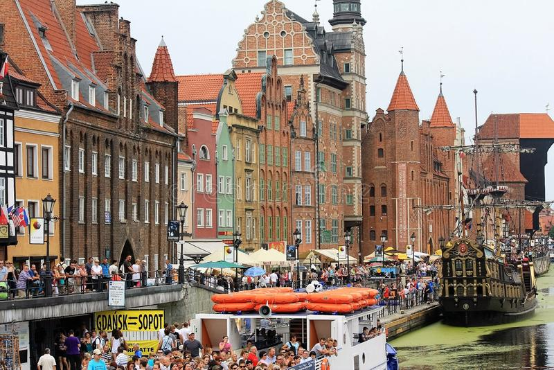 Port in the old part of Gdansk, Poland stock photo