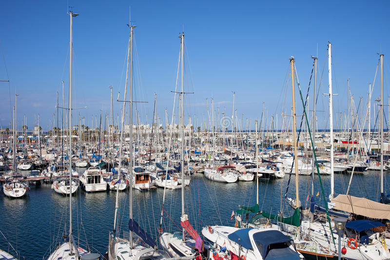 Port Olimpic Marina in Barcelona stock image