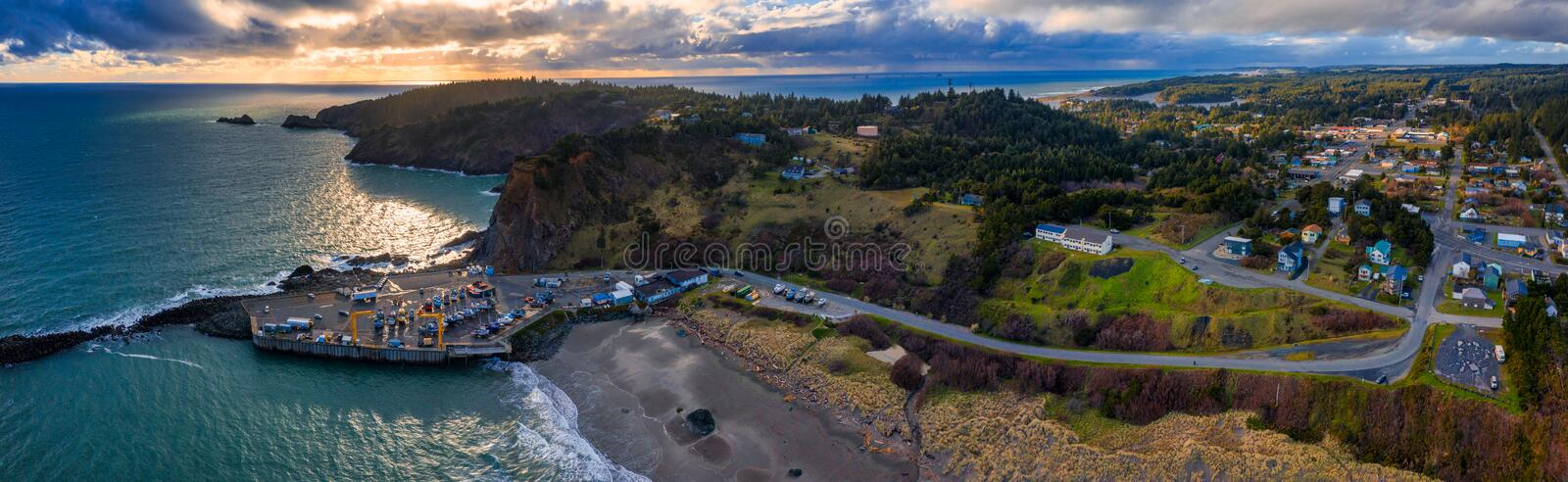 Port Orford Oregon Harbor. Aerial panorama of harbor and marina in Port Orford at the Southern Oregon coast, United States, during sunset royalty free stock photo