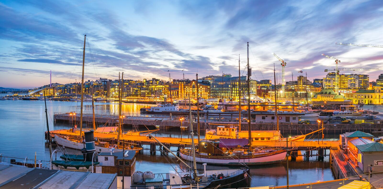 Port of Oslo city in Norway.  royalty free stock photography