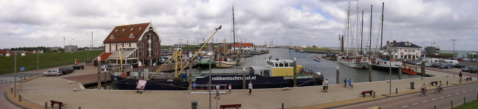 The port of Oudeschild, Netherlands 05.07.2007. Fishing boats moored in the inner harbor of Oudeschild royalty free stock photography