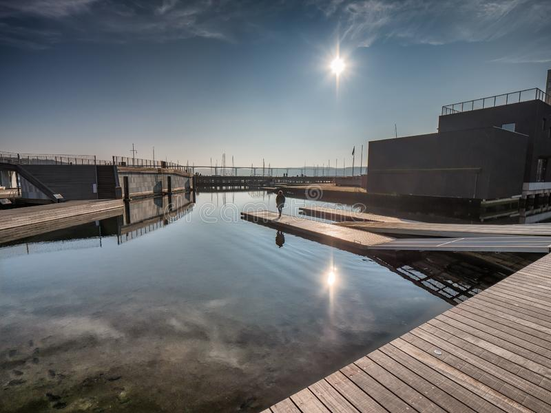 Port ouvert public dans Vejle, Danemark image stock