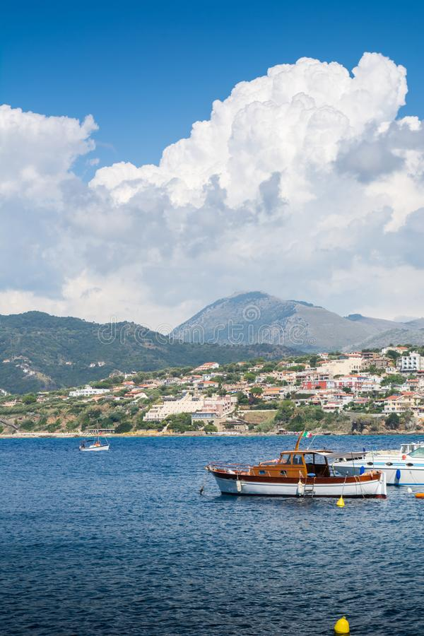 The Port of Palinuro, in Italy, on Cloudy Sky Background royalty free stock photo