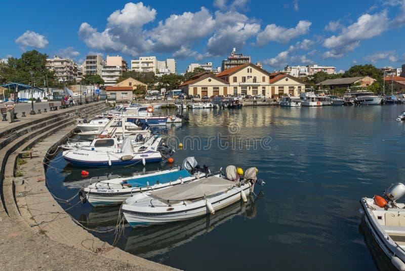 Port and Panorama to town of Alexandroupoli, East Macedonia and Thrace, Greece. ALEXANDROUPOLI, GREECE - SEPTEMBER 23, 2017: Port and Panorama to town of stock image