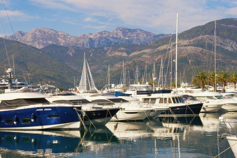 Port per gli yacht sui precedenti delle montagne Il Montenegro, baia di Cattaro, città di Teodo, porticciolo dell'yacht di Oporto fotografia stock