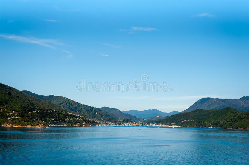 Port of Picton seen from ferry from Wellington to Picton via Marlborough Sounds, New Zealand.  stock photos