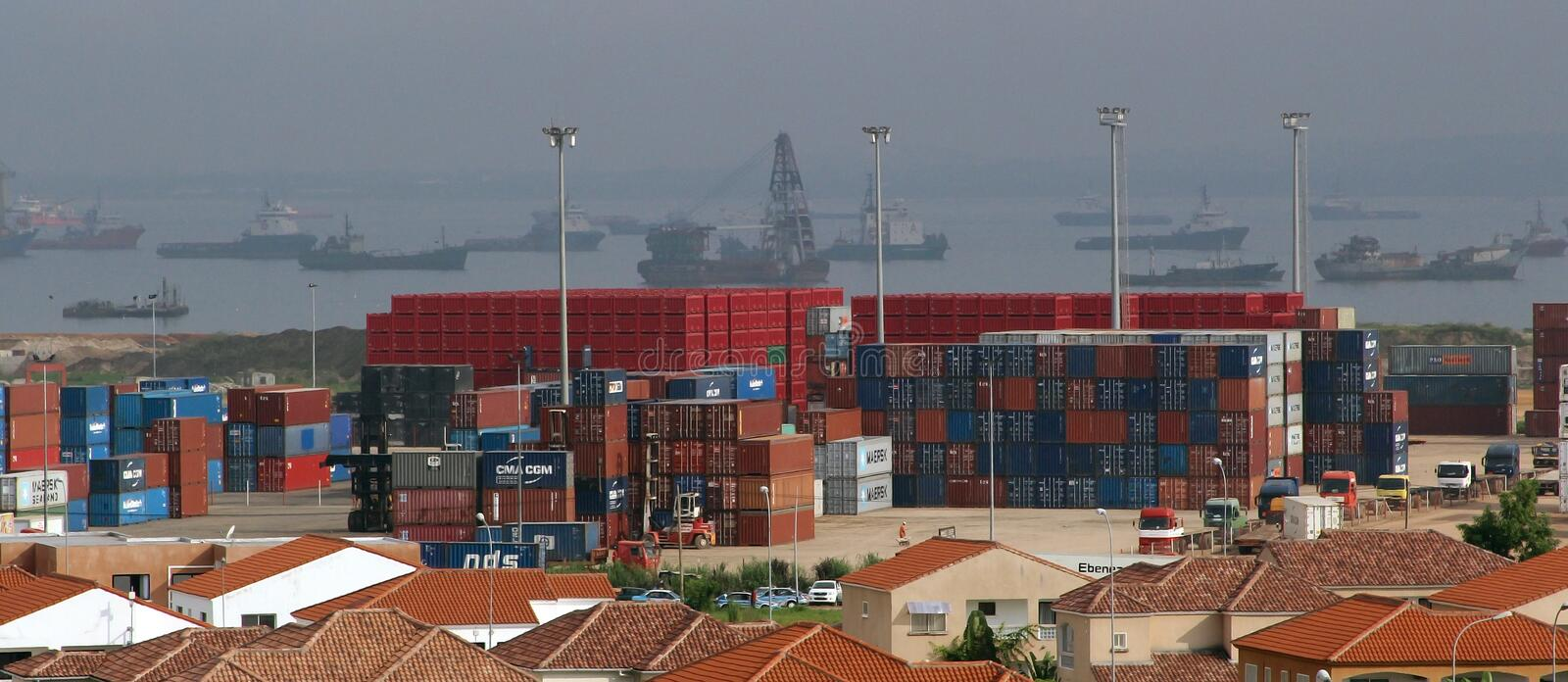 Port of Pointe-Noire. View of the port facility with containers in Pointe-Noire, Congo Republic, february 2015 royalty free stock image
