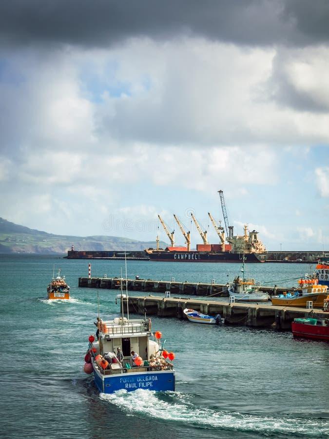 Port in Ponta Delgada royalty free stock image