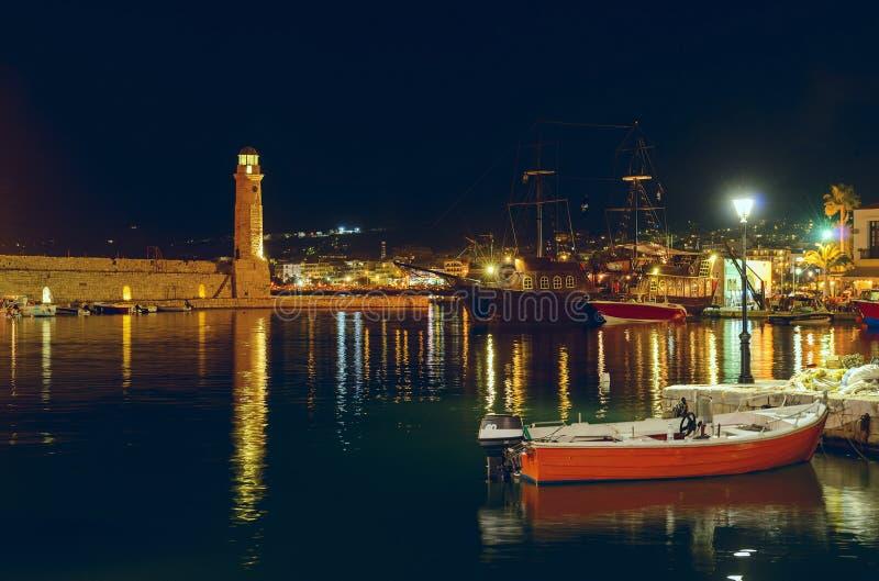 Port Rethymno at night. Crete. Greece.
