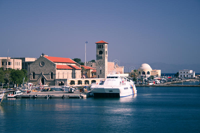 Download Port of Rhodes Town editorial photo. Image of church - 25467216