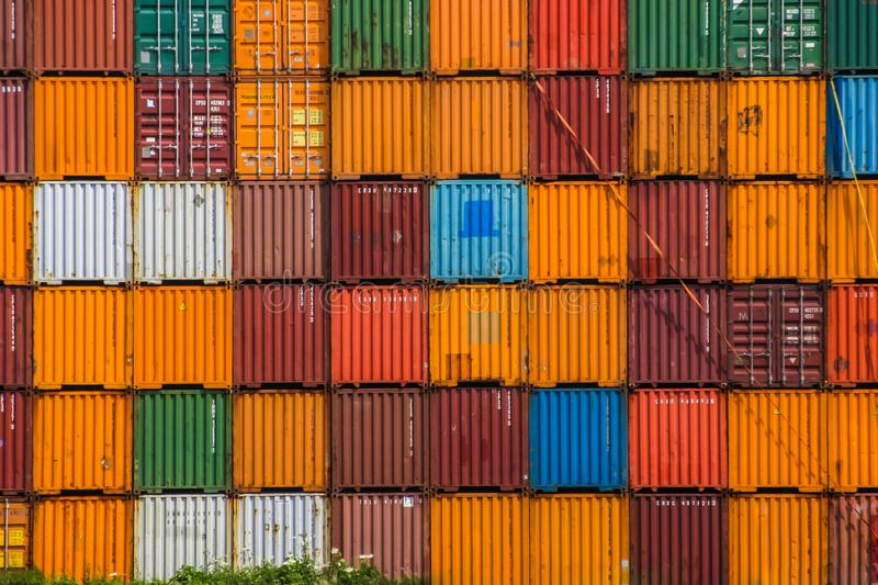 Transport containers at the port of Rotterdam. A port of Rotterdam full of shipping containers royalty free stock image