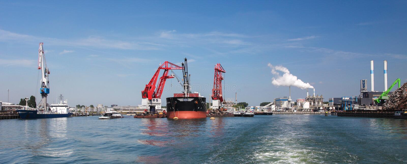 Port Rotterdam, wielki port w Europa fotografia stock