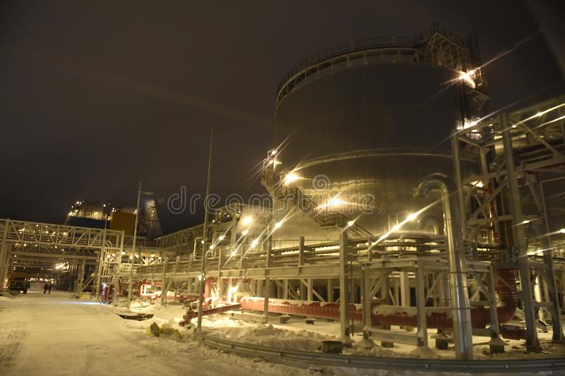 Port Sabetta, Yamal, Russia, December 9, 2018. Yamal - LNG natural gas production and transportation plant stock photography