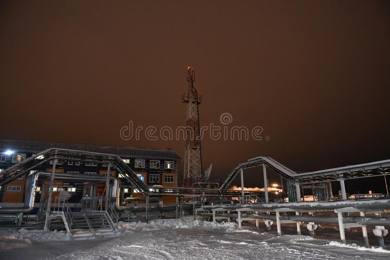 Port Sabetta, Yamal, Russia, December 9, 2018. Yamal - LNG natural gas production and transportation plant stock image