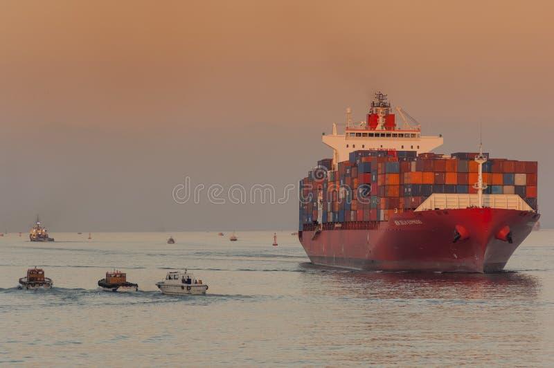 PORT SAID /EGYPT 02nd JANUARI 2007 - het Containerschip New Delhi royalty-vrije stock foto