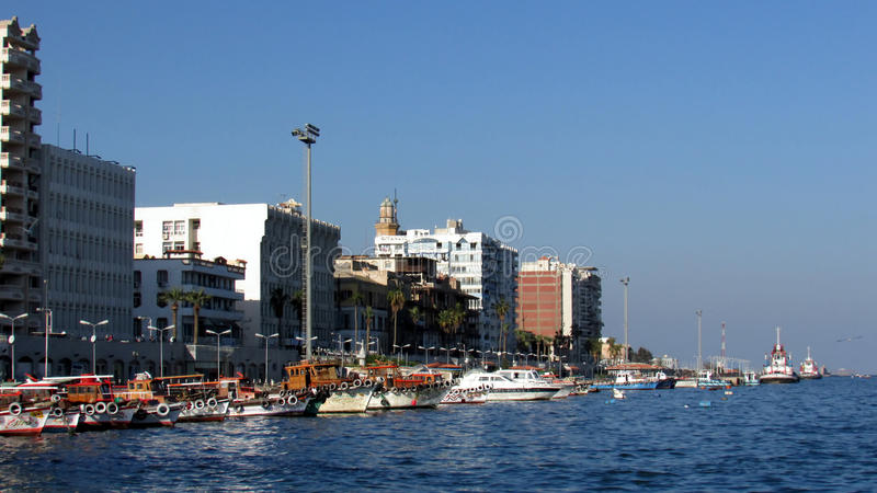Port Said Suez kanal arkivbild