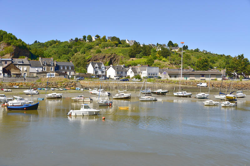 Port of Saint-Brieuc in France. Port on the river Gouët at Saint-Brieuc, commune in the Côtes-dArmor department in Brittany in northwestern France stock photos