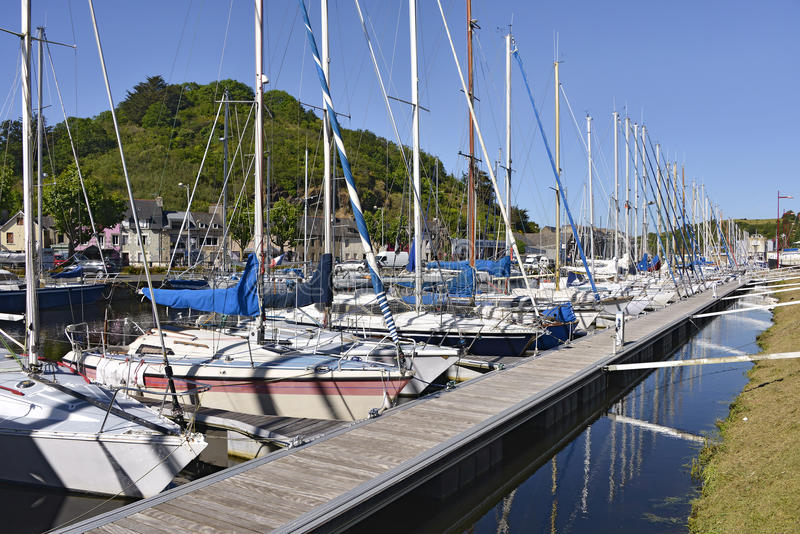 Port of Saint-Brieuc in France. Sailboats moored on the river Gouët in the port of Saint-Brieuc, commune in the Côtes-d'Armor department in Brittany in stock photo