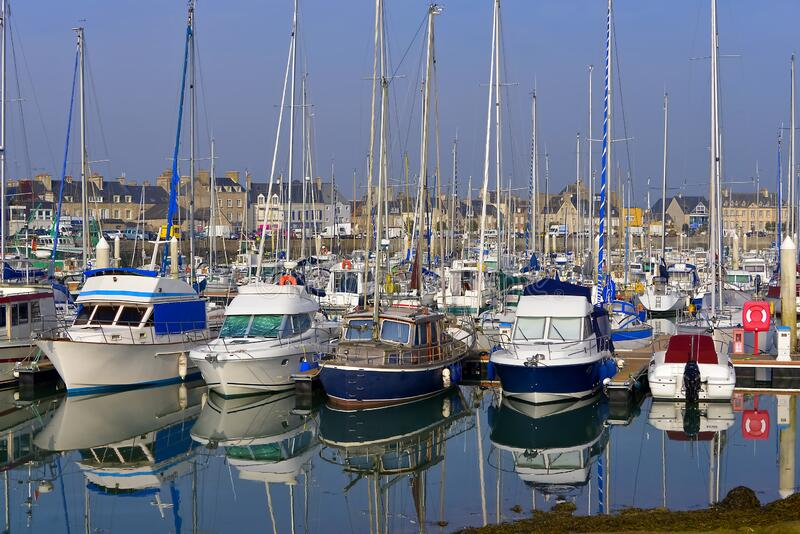 Port of Saint-Vaast-la-Hougue in France royalty free stock images