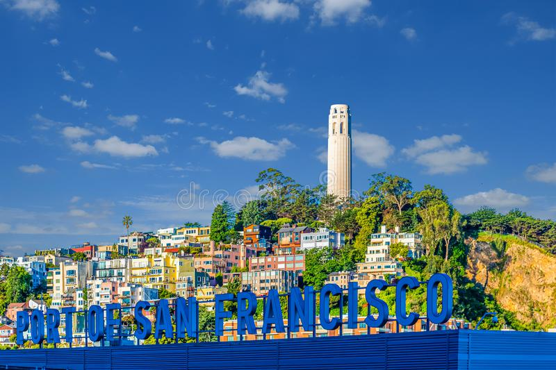 Port of San Francisco and Coit Tower stock photography