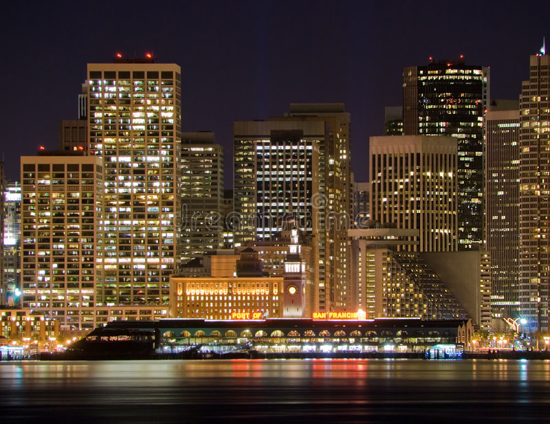 Port of San Francisco & Financial District at night stock photo