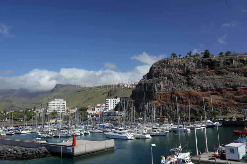 Port in San Sebastian. Tthe harbour of San Sebastian de La Gomera, Canary Islands, Spain royalty free stock photography