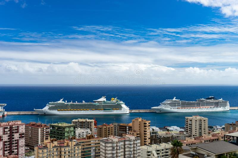 Port of Santa Cruz de Tenerife with cruise ships. view from the top view city foreground stock photo