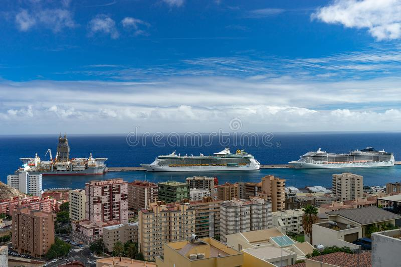 Port of Santa Cruz de Tenerife with cruise ships. view from the top view city foreground stock photos