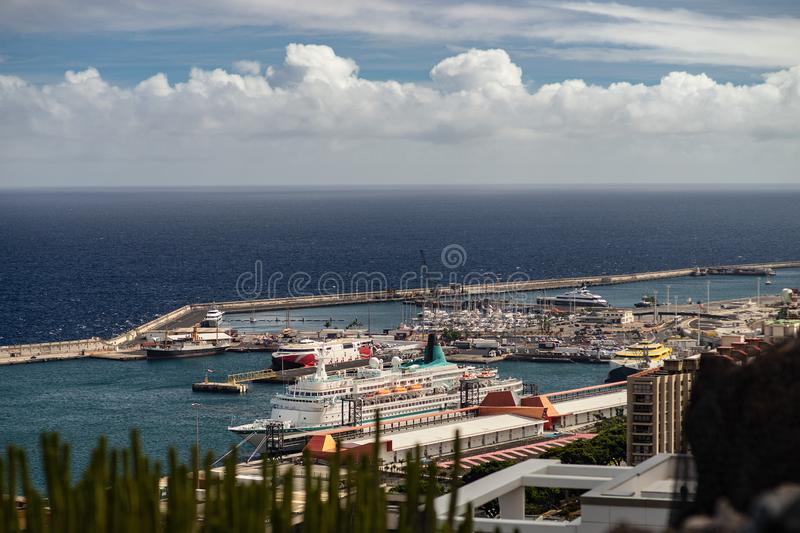 Port of Santa Cruz de Tenerife with cruise ships. view from the top view city foreground royalty free stock photography