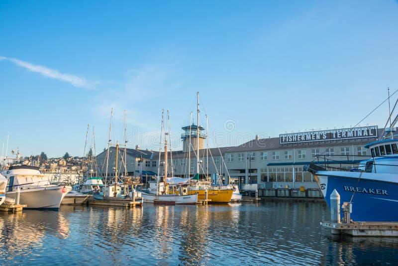 Port Seattle Fishermens Terminal obraz stock