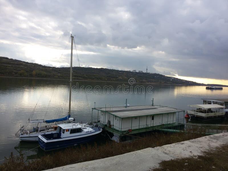 Port of Oltenita. The port that separates Bulgaria from Romania stock image