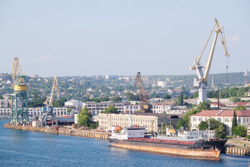 Port of Sevastopol, Crimea. The image of cargo ships in the port of Sevastopol, Crimea royalty free stock image