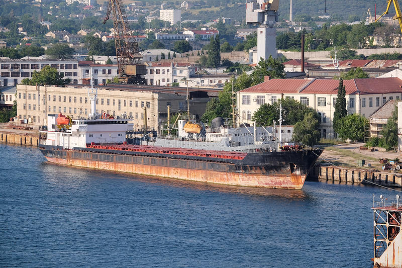 Port of Sevastopol, Crimea. The image of cargo ships in the port of Sevastopol, Crimea stock photo