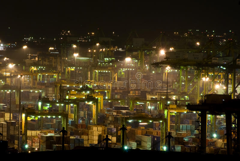 Port of Singapore at night. View of the Port of Singapore @ night royalty free stock photo