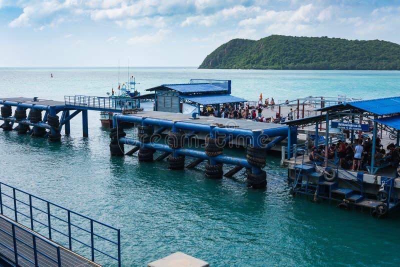 Port som kan användas till mycket av Koh Phangan lokaliserar på läderremmen Sala, Koh Phang arkivbild