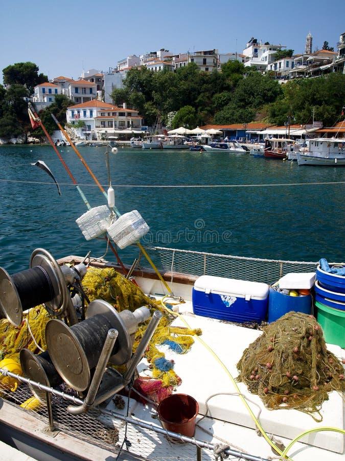 Port sur l'île grecque de Skiathos image stock