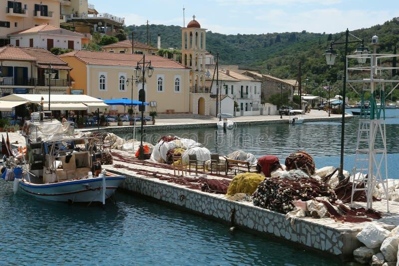 Port sur la petite île de la Grèce image libre de droits