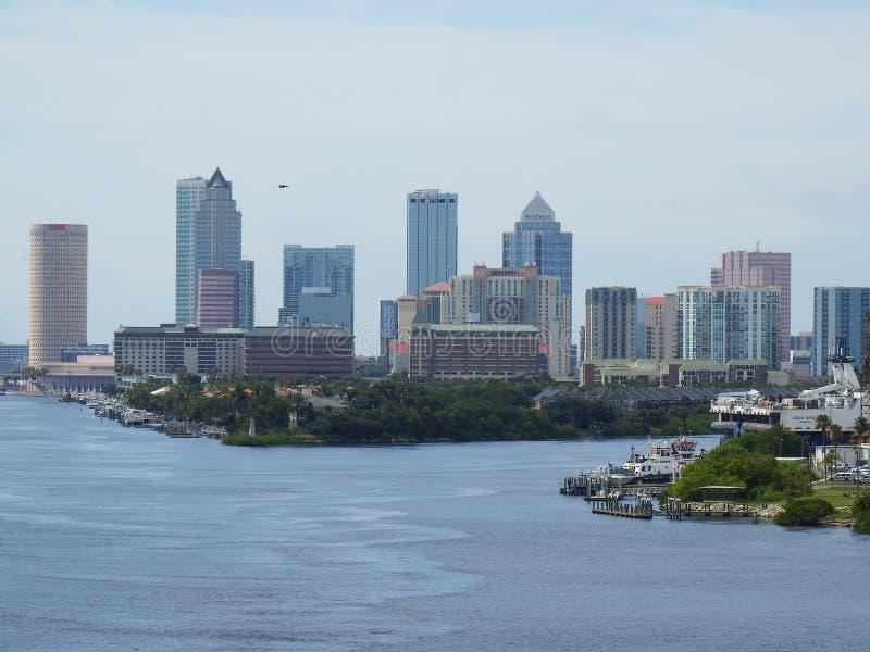 Port Tampa, Floryda, Tampa linia horyzontu zdjęcie stock