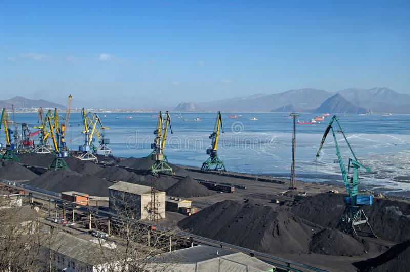 The port terminal for coal loading stock photography