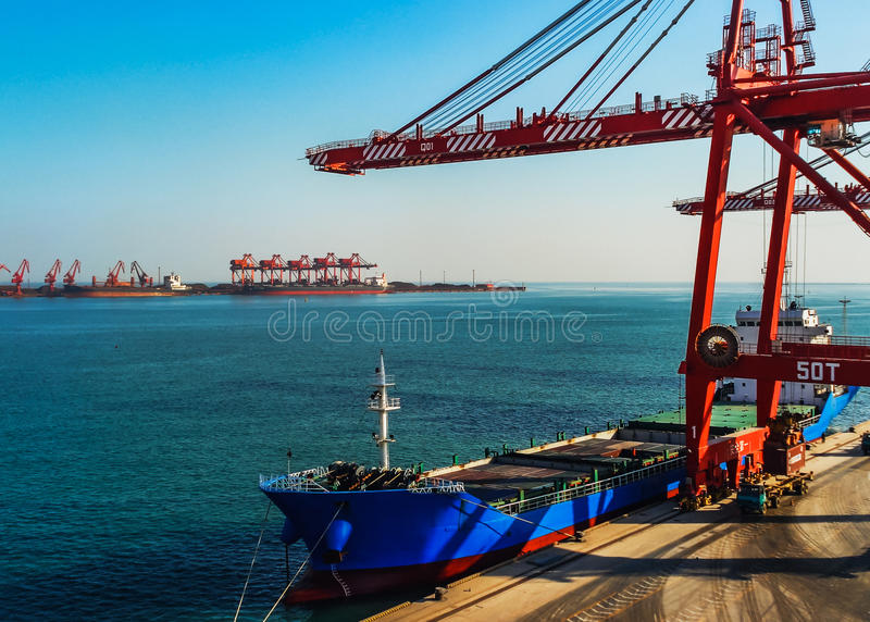 Port terminal. The port is a transport hub with the sea and land transport equipment and conditions, for the safety of the ship. Is the amphibious transportation stock photos