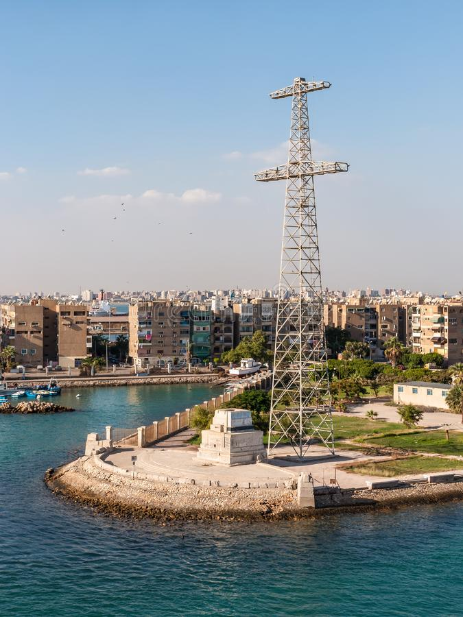 Port Tewfik Memorial, Suez Governorate, Egypt. Port Tewfik, Egypt - November 5, 2017: Port Tewfik Memorial and tower in the suburbs of Suez on the southern end stock images
