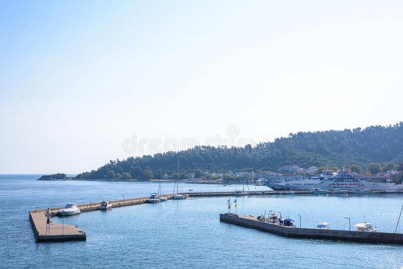 Port of Thassos at daylight. View from ferry boat. Greece beauties royalty free stock photography