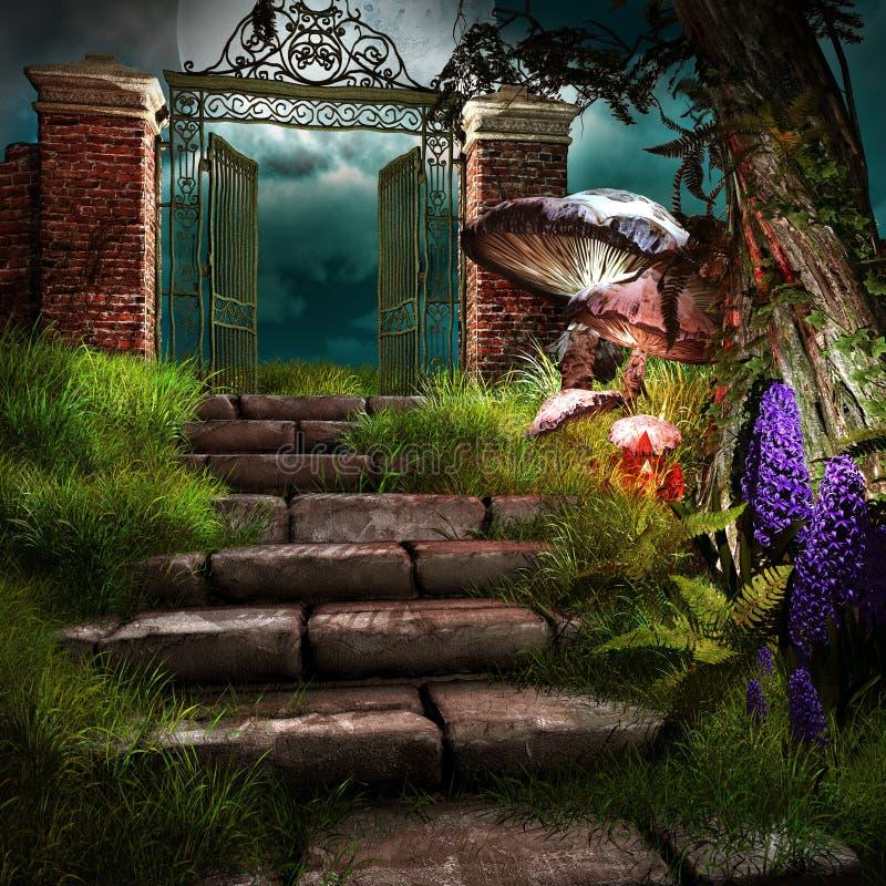Port till den glömda trädgården stock illustrationer
