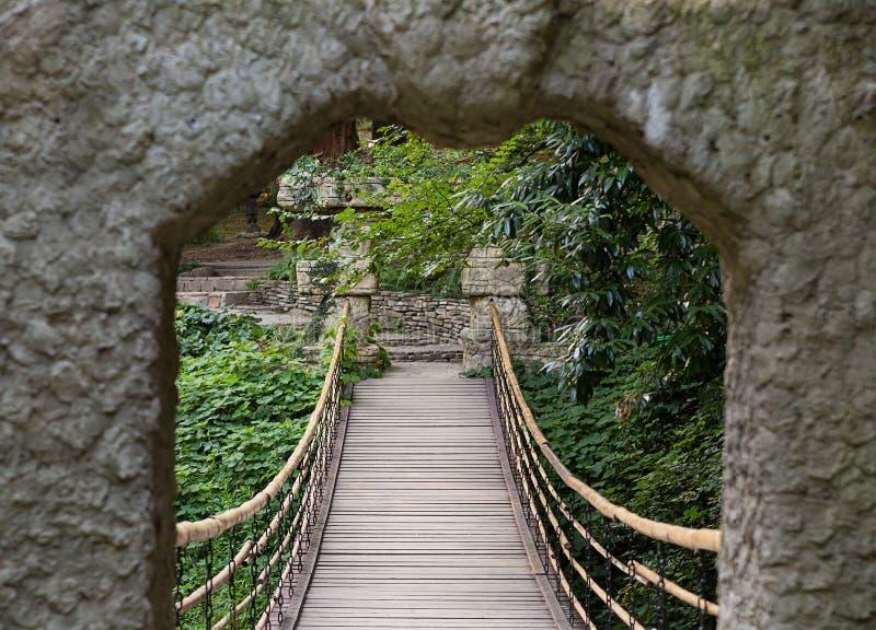 Port till en hängande träbro bland grönskan royaltyfri bild