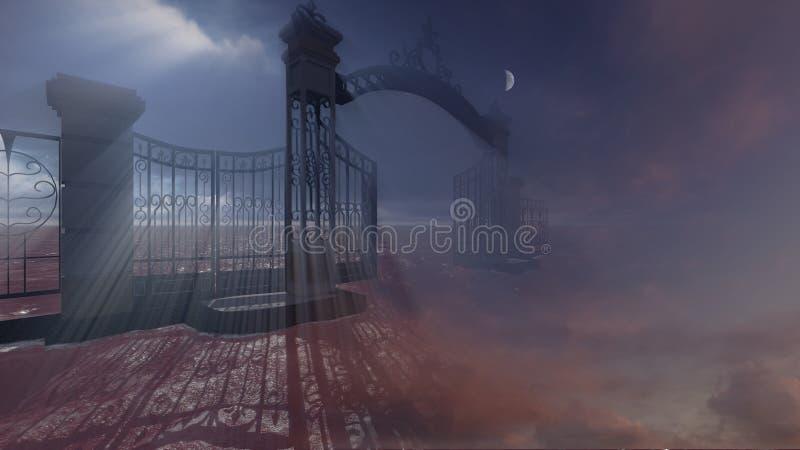 Port till himmel vektor illustrationer