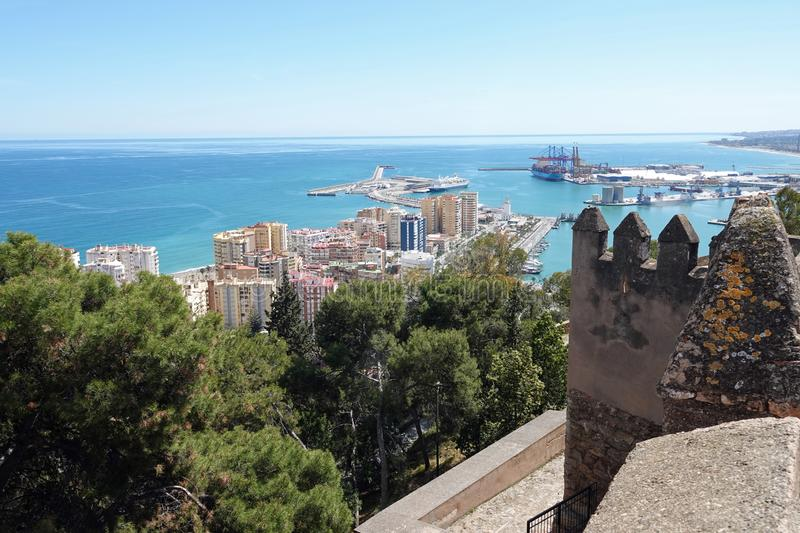 Port from Tower of the Gibralfaro castle hill of Malaga in Andalusia, Spain stock photos